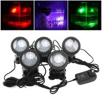 5pcs 12V 36 LED Spotlight Lamp with 7 Colors Changing Outdoor Waterproof Light for Garden Fountain Fish Tank Pool Pond