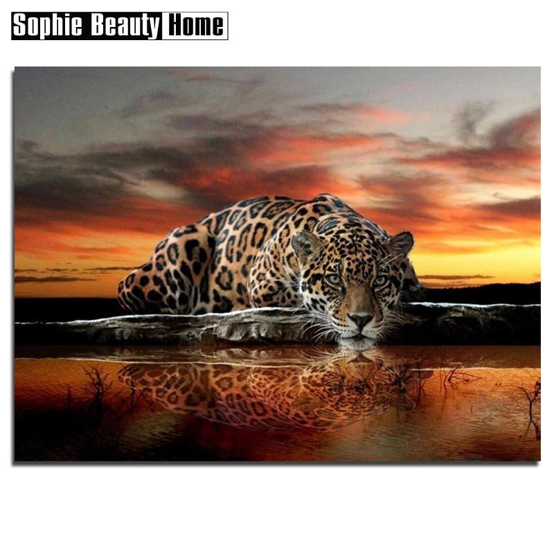 5D Diy Diamond Painting Leopard by Lake Diamond Embroidery Pattern Rhinestones Full Diamond Mosaic Home Decor Gift 060504