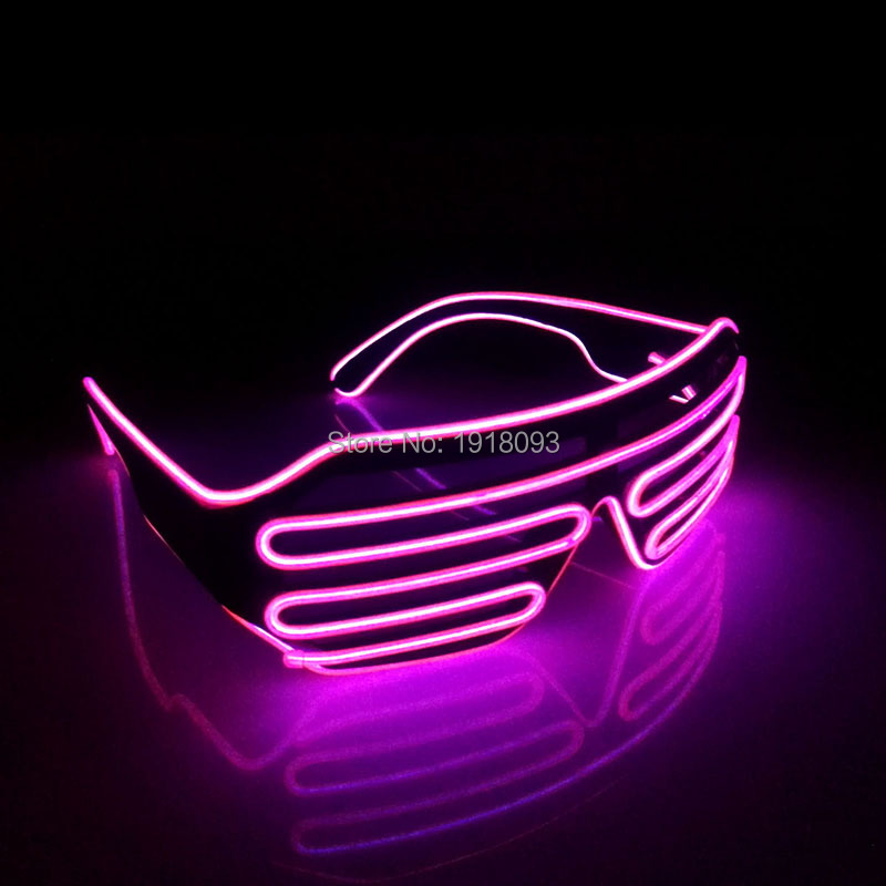 Color Pink EL Wire Glowing Glasses DC3V Shutter Shape Fashion Rave Costume Neon Glow Light EL Cable Rope Party Holiday Decor