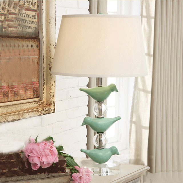American Country Table Light Vintage Crystal Green Bird Table Lamps Bedside  Bedroom Living Room Living Room