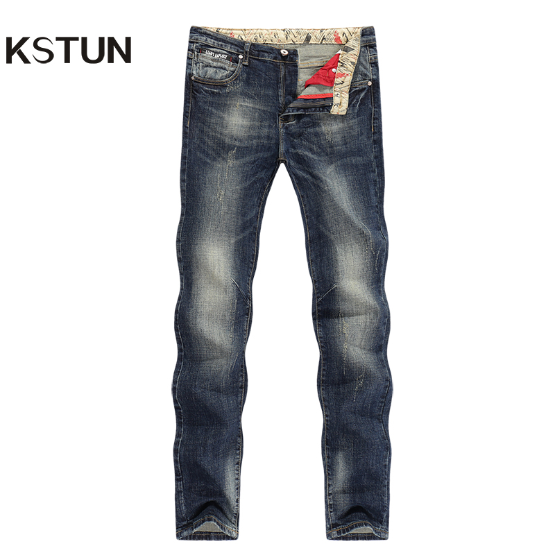 KSTUN Jeans Men New Arrivals Autumn Winter Direct Straight Retro Blue Stretch Vintage Casaul Streetwear Moto Biker Jeans Size 40