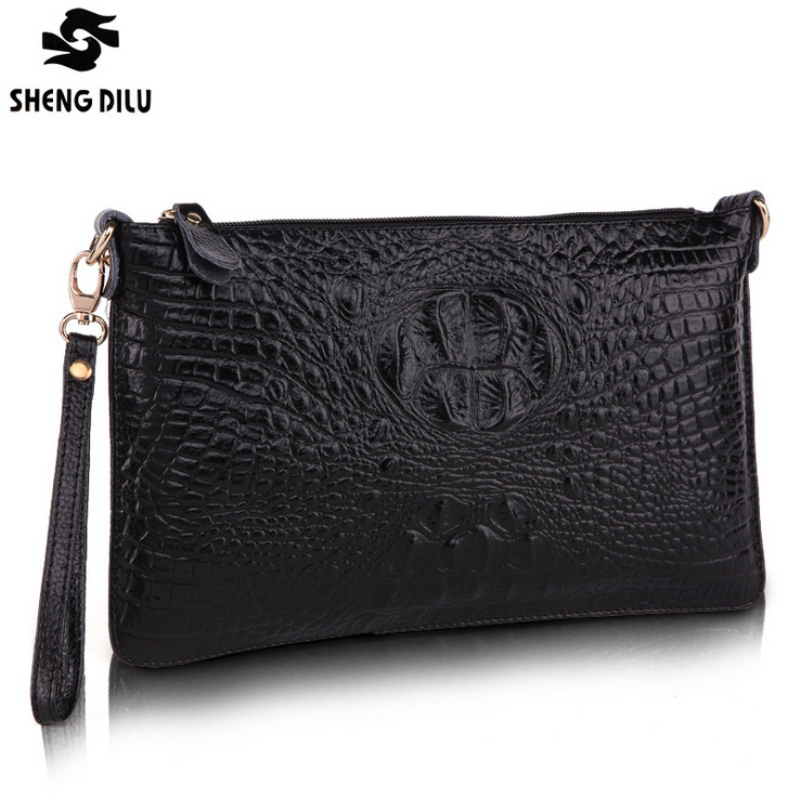 Crocodile pattern 100%  Genuine Leather Envelope Women Clutch Bag Crossbody Messenger Bag Female Shoulder Bags Small Handbags freeshipping 2016 genuine leather man small bag vintage clutch bag crocodile pattern leather men messenger bags 7267c