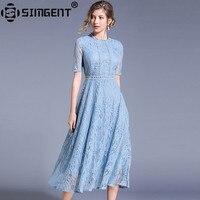 Sigent-Vestido largo de encaje calado para mujer, elegante, ajustado, para verano, SG94123