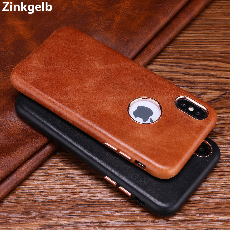 For iPhone X Case Cover Luxury Vintage Genuine Leather Hard Slim Shockproof Armor Phone Case for iPhone 6 6s 7 8 Plus Back Cover