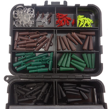 1 Set Assorted Carp Fishing Accessories Hooks,Rubber Tubes, Swivels, Beads, Sleeves,Stoppers for Hair Rig Combo Fishing Box