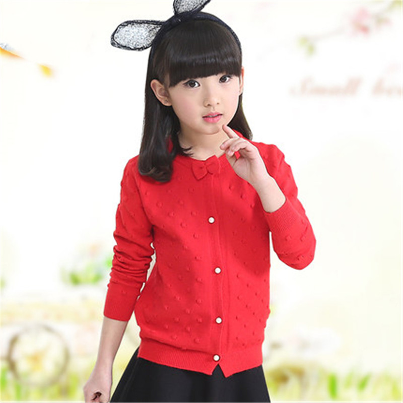 Girls Cardigan Cotton Knitted Sweaters For Girls Clothing Children  Outerwear 2 4 6 8 10 12