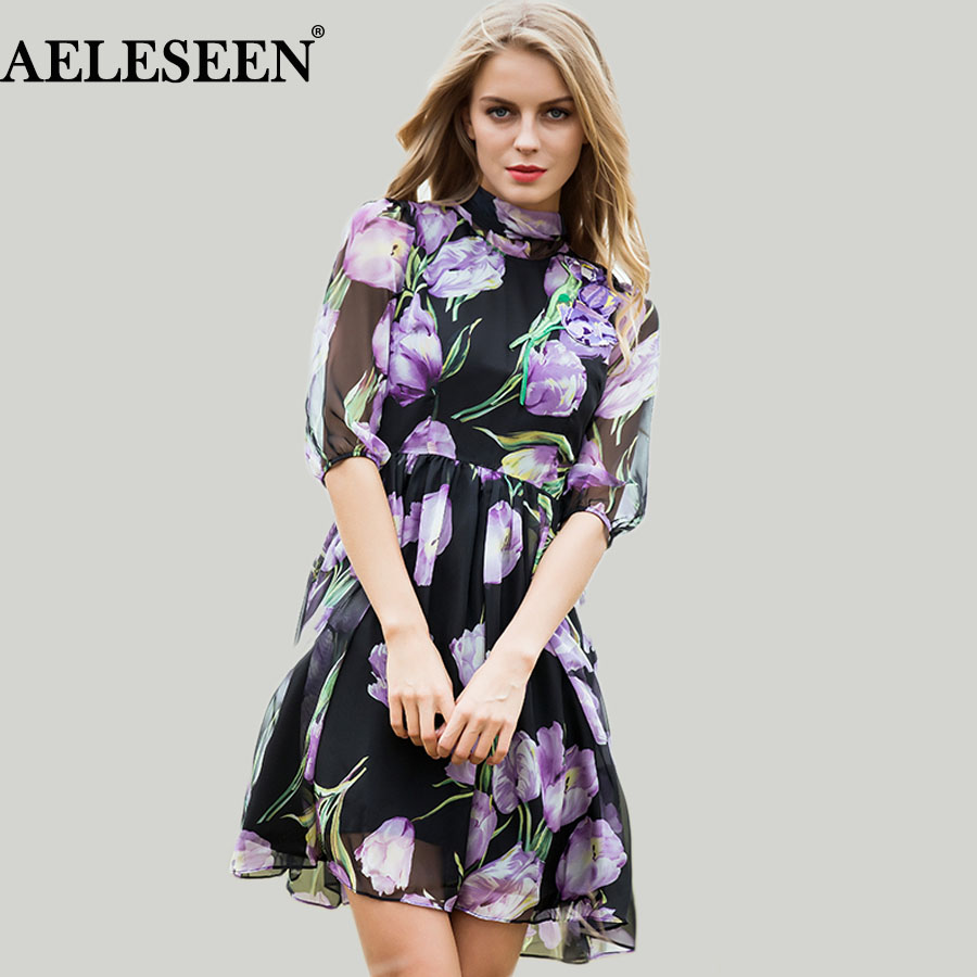 Elegant Ladies Dresses 2018 Autumn New Casual Fashion Half Sleeve Tulip Sleeve Embroidery Bow Silk Print