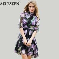 Temperamen Elegan Lady 2016 Autumn Dresses Brand Lanter Sleeve Turtleneck Tulip Purple Voile Embrodery Print Dress
