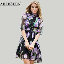 Elegant Ladies Dresses 2018 Autumn New Casual Fashion Half Sleeve Tulip Sleeve Embroidery Bow Silk Print Women Dress(China)