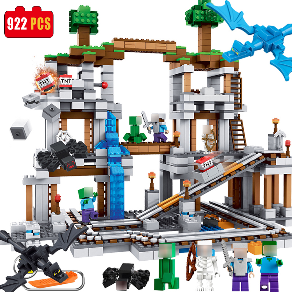 Qunlong Mine 922pcs Compatible Legoe MY WORLD Minecrafted model building Blocks set brick Action Figures Toys gift for children 12pcs set children kids toys gift mini figures toys little pet animal cat dog lps action figures