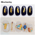 New 20pcs/pack 3d Feather Design Charm Mini Alloy Studs Nail Art Decorations DIY Metal Nail Supplies