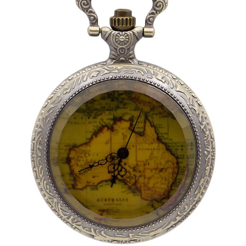 New Arrival Bronze Antique Pocket Watches Australia Map Design Quartz Pocket Watches Mens Womens Best Gifts Relogio De Bolso