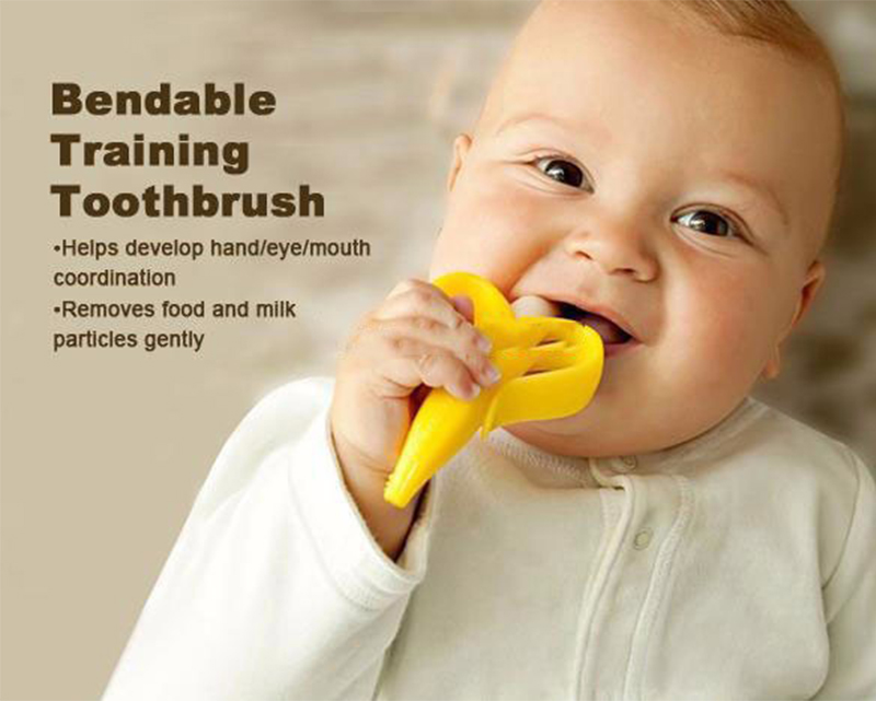 (Momy And Angel) Environmentally Safe Banana Newborn Baby Teether Stick Chews Silicone Toothbrush Teething Rings
