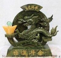 Ремесла статуя Южная тайваньский нефрит с вручную вырезанным драконом, процветающий бизнес процветает