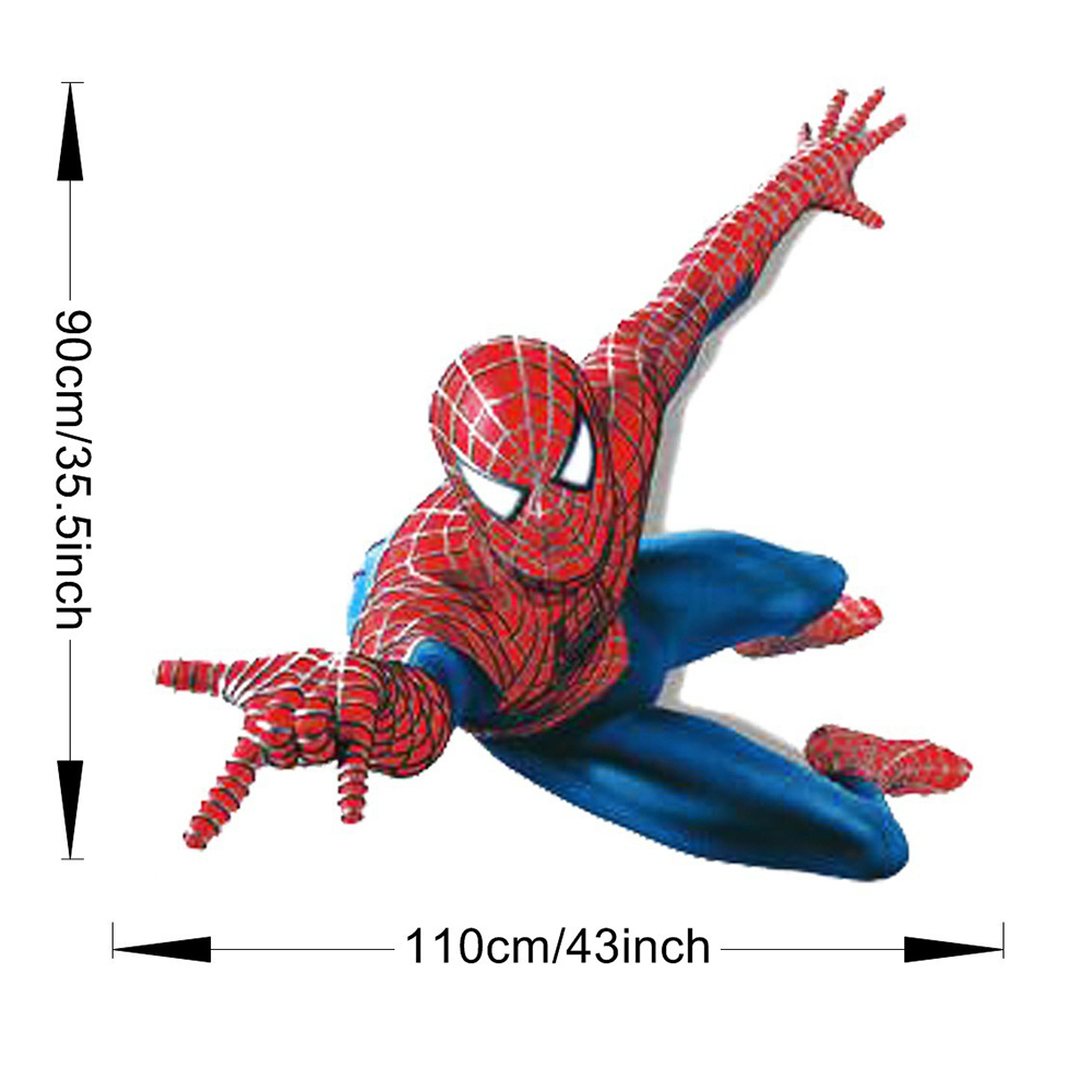 aliexpress com buy 3d spiderman wall stickers for kids rooms 110 aliexpress com buy 3d spiderman wall stickers for kids rooms 110 90cm removable superhero wall decals chrildren boys bedroom home decor from reliable