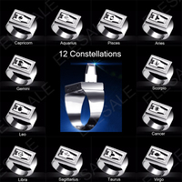 12 constellation Stainless Steel Self Defense Tactical Ring Emergency Safety Tools Outdoor Hidden Survival Weapon Punk Rings