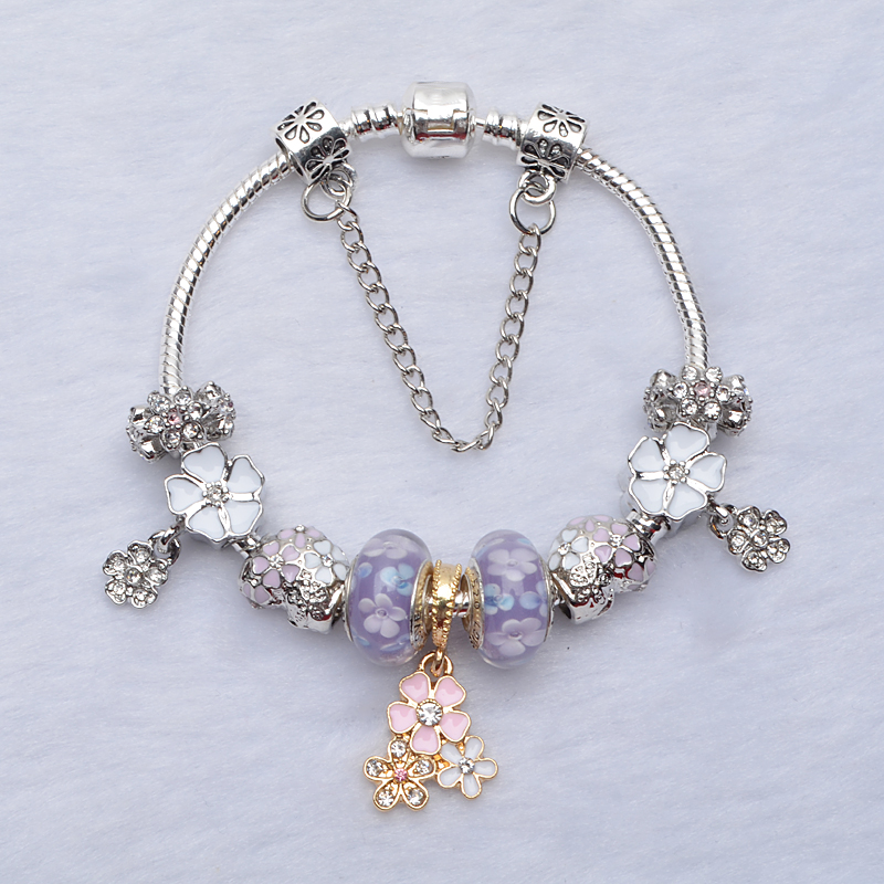 Hot Sale Original 925 Silver Charm Bracelet Purple white pink Beads for Women Bracelets Compatible with Jewelry Bangles