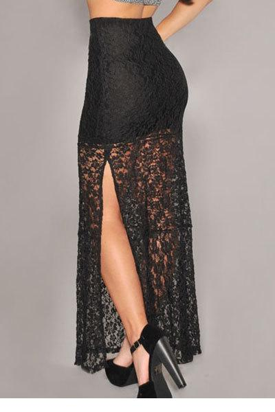 2c867abbe € 18.32 |Women's Clothing Summer Maxi Long Skirt for Women Black Flower  Lace Vintage Mesh Skirts Saias longas Faldas Largas Mujer Jupe en Faldas de  ...