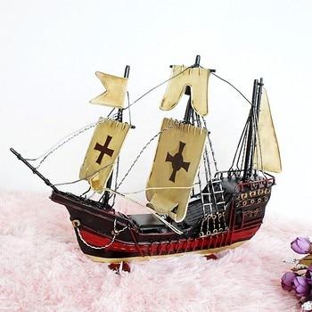 Large size handmade crafts metal boat sailing model Iron sheet nautical ship table decoration 36*8*28cm