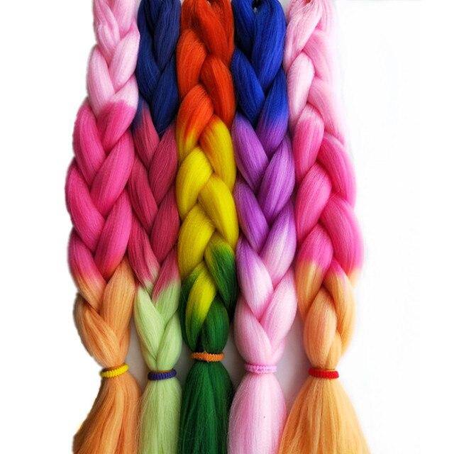 24 100g Pc Esprit Beauty Jumbo Braids Crochet Hair Extensions Blue Pink Orange Ombre 3tone Synthetic Yaki Braiding Bulk
