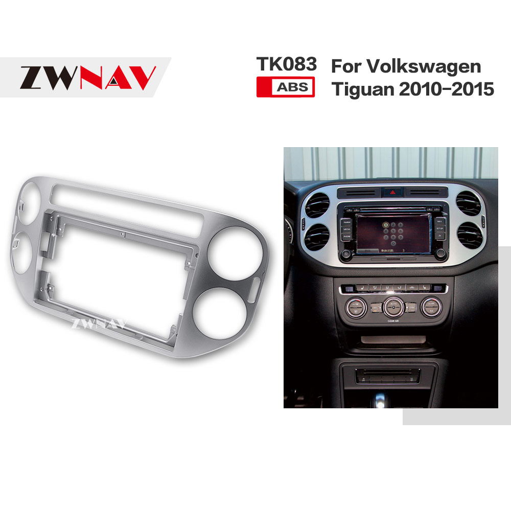ZWNAV รถ Double Din กรอบวิทยุแผง DVD Dash ภายในสำหรับ Volkswagen Tiguan 2010 2011 2012 2013 2014 2015