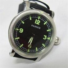 44 мм Парнис Классический Наручные Часы Черный Циферблат Зеленая Рука Обмотки 6497 Движение Часы