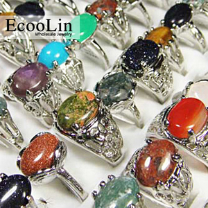 Image 5 - 150Pcs Mixed Color Natural Stone Silver Plated Rings For Women Fashion Big Whole Jewelry Bulks Lots BL020