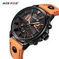 RISTOS Luxo Marca Relógio de Quartzo Relógios De Couro Casual Reloj Masculino Feminino Relógio com Data do Calendário À Prova D' Água 93001