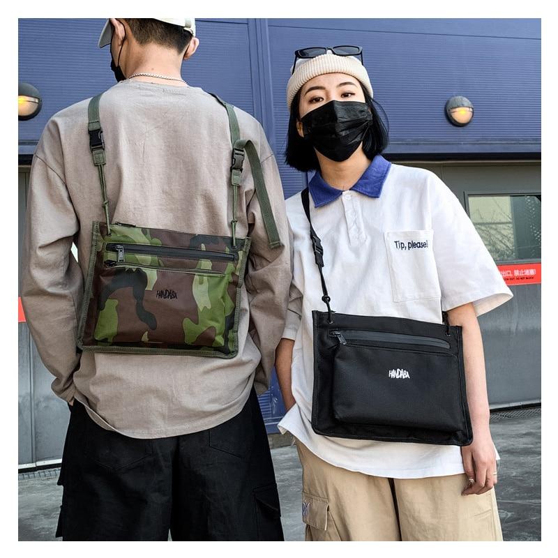 Fashion Cross Chest Bag Canvas For Men Women 2019 Hip Hop Tactical Streetwear Chest Pack Short Trip Travel Messengers Bag