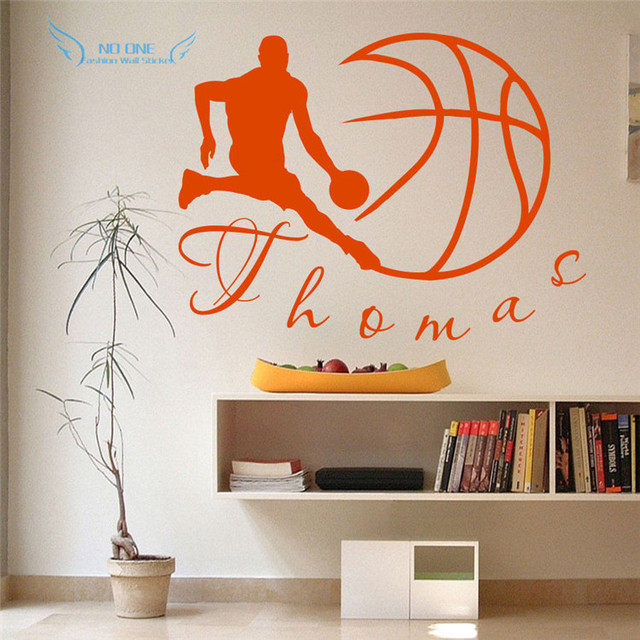 Vinyl wall decals sport basketball ball monogram boy personalize name home decor wall stickers size 56x75cm
