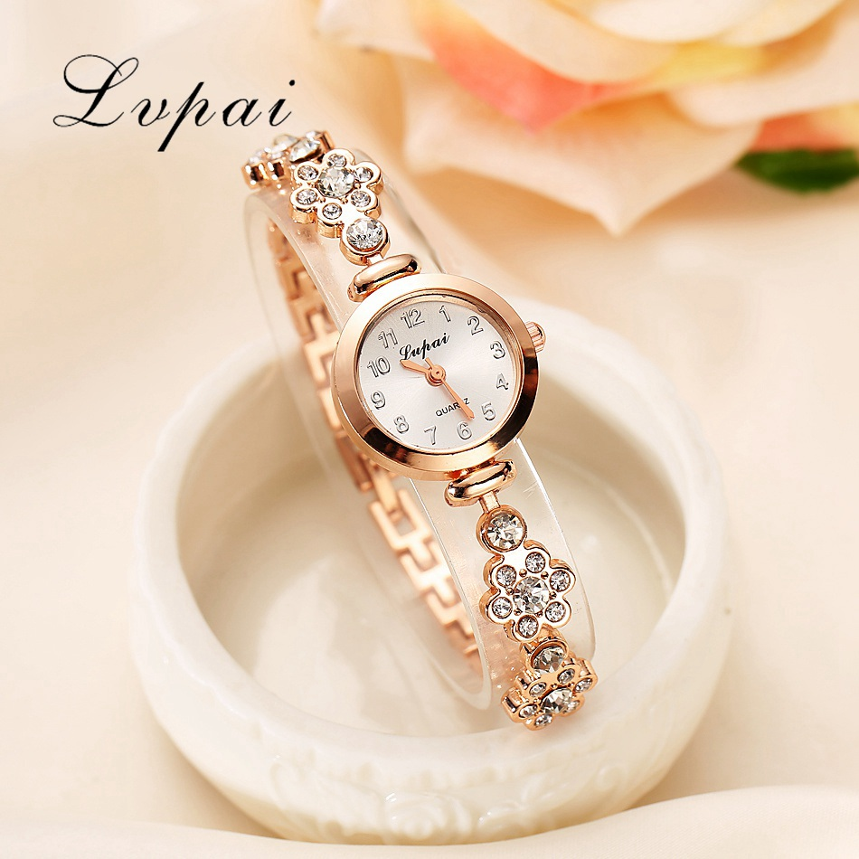 Lvpai Brand New Fashion Luxury Women Dress Gemstone Quartz Wristwatches Ladies Casual Golden Silver Women Dress Quartz Watches