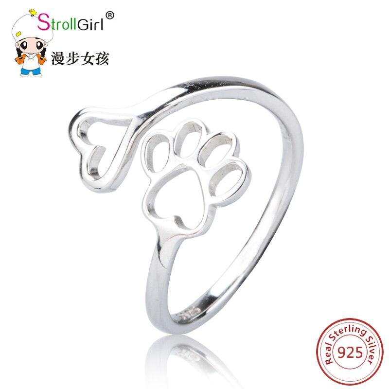 Strollgirl 925 Sterling Silber Tier Hund Katze Pfote Ringe Fur