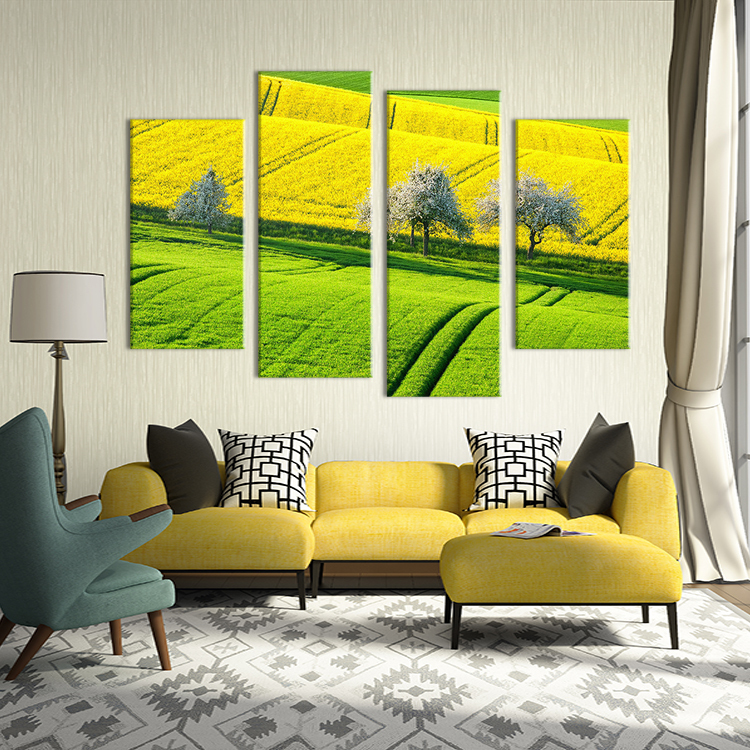 Hot Sells 4 Panels The bright fields Painting Canvas Wall Art Home ...