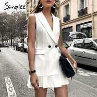 Simplee Blazer blanc robe de travail femmes cou en V volant Une ligne mince robe de soirée sans manches Office dames short robe blanche vestidos