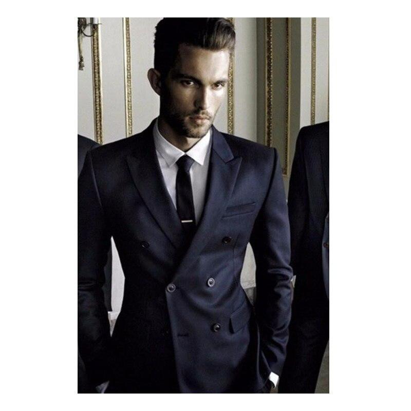 Novio Real New Flat Tuxedo Trajes de Boda Para Hombres Personalizados - Ropa de hombre