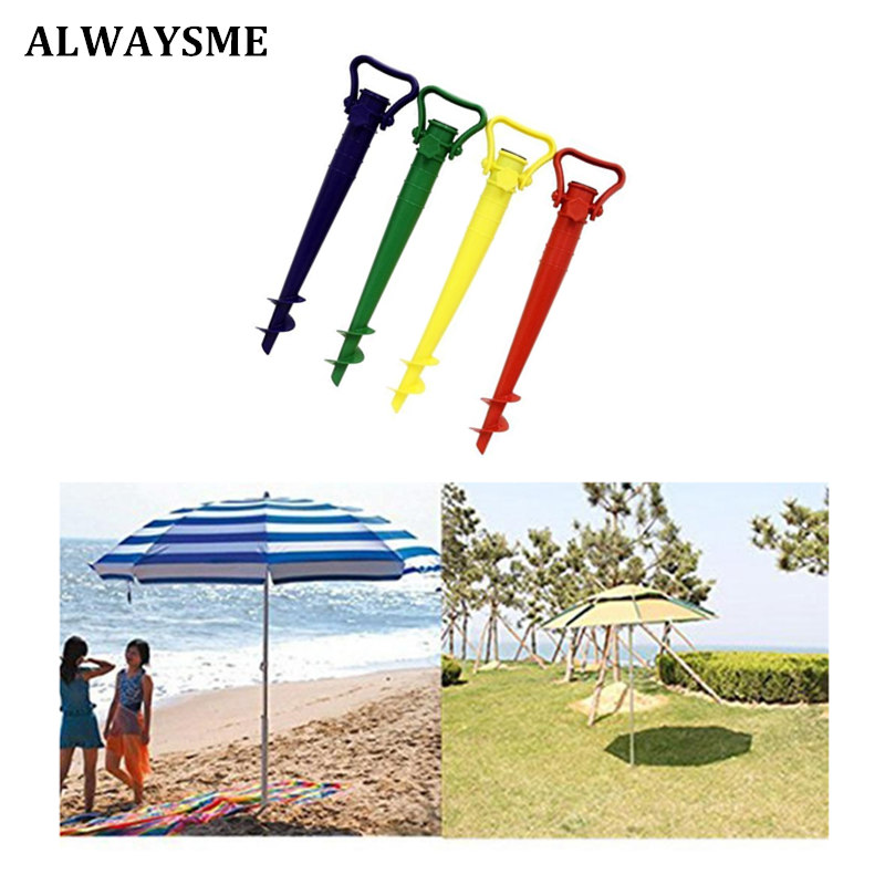 US $0 8 |ALWAYSME Patio Umbrella Base Screw In Parasol Base Ground Anchor  Spike Stand Beach Sofa Hang Hammock Garden Umbrella Holder Base-in Patio