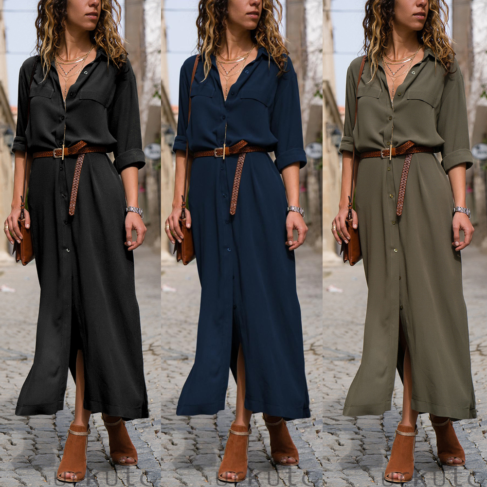 Women Summer V Neck Boho Party Beach Dress Woman Solid  Color Long Maxi Dresses Ladies Holiday Casual Sundress Female Clothes