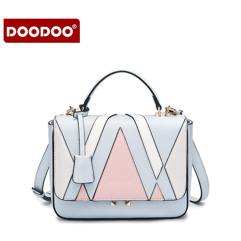 DOODOO Patchwork Bolso Mujer Women Handbag Luxury PU Leather 2017 Famous Brands Cover Geometric Shoulder Bag Messenger   Bags