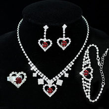 Partido nupcial de la boda Dark Red Crystal Heart collar pulsera anillo aretes CS1032