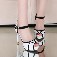 In the summer of 2017, the new leather shoes sandals women's high heels waterproof platform fine heels and collated fish mouth s