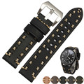 20 22 24 26mm Men Lady Black Gray Green Dark Light Brown Watch Band Genuine Leather Handmade Thick Band Strap Belt Pin Buckle