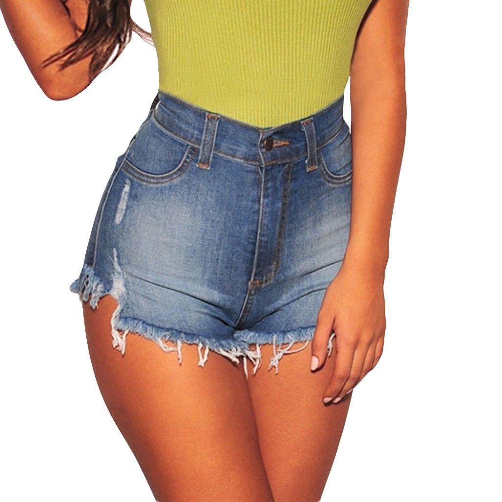 Women Ripped Frayed High Waist Denim Shorts Jeans Hot Pants Trousers Beachwear