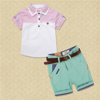 Boys Summer Casual Clothes Set Children Removable Denim Lapel T Shirt Pants Short Pants Suits 2016