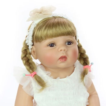 New 23 Inch Real Silicone Body Reborn Baby Doll Fashion bebes Reborn Girl Princess Doll For Kid Birthday Gift DIY Hair