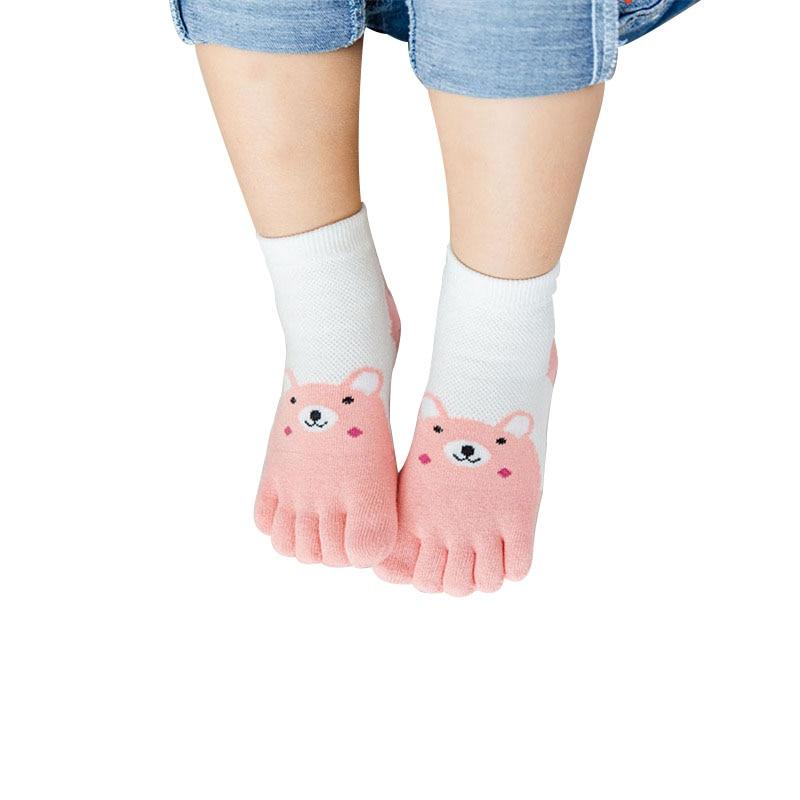 1 Pairs Cute Cartoon Bear Five Toes Socks Kids Socks Children Hosiery Five Fingers Socks Mesh Breathable Foot Socks 3-12 years