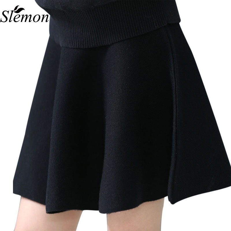 2018 Spring Autumn New Girl High Waist Skirt Children Kids Knitted Short Solid Pleated Bottom Black Red Skirts All Match Clothes high waist faux leather pleated skirt