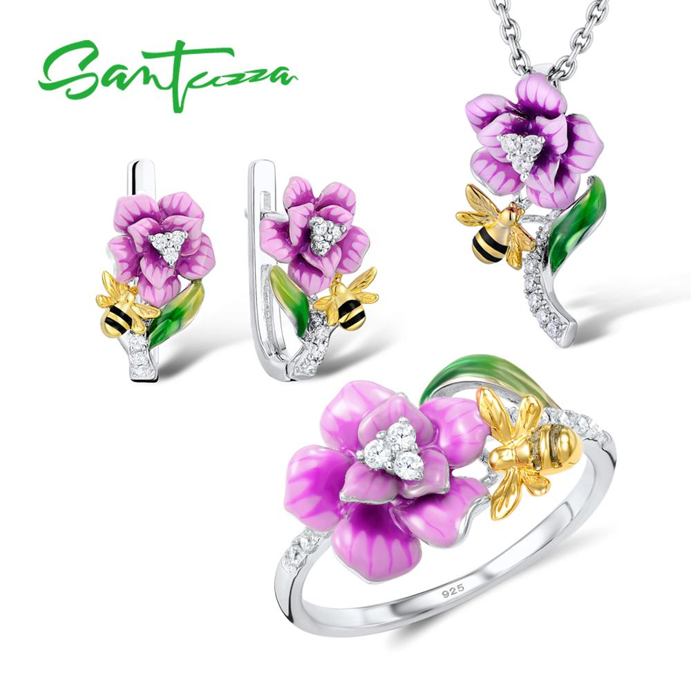 SANTUZZA Silver Jewelry Set For Woman 925 Sterling Silver HANDMADE Enamel Pink Flower Bee Ring Earrings
