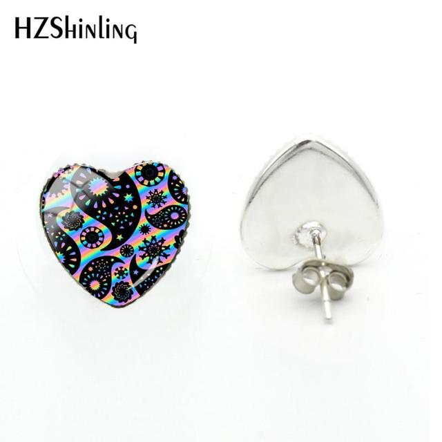 2018 New Funky Paisley Design Heart Earring Glass Cabochon Art Photo