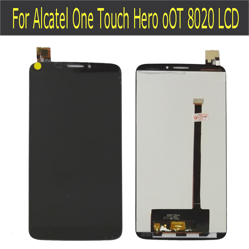 100% tested For Alcatel One Touch Hero OT8020 8020 8020D LCD Screen With Touch Screen Digitizer Black