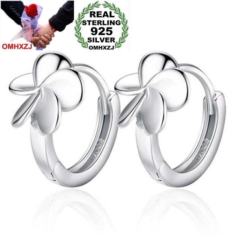 OMHXZJ Wholesale Jewelry fashion kpop star for Woman gifts Five Leaf Flower 925 Sterling Silver buckle hoop Earrings YS170